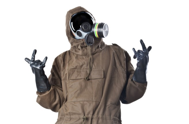 A man wearing an NBC Suit (Nuclear - Biological - Chemical)